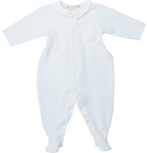 Bonpoint Velvet Embroidered Footie Pajamas, Blue, Size 1-6 Months