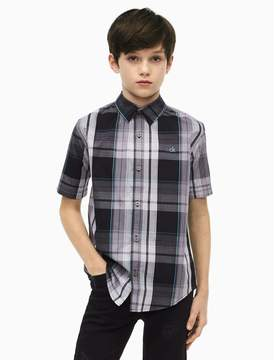 Calvin Klein boys plaid short sleeve shirt