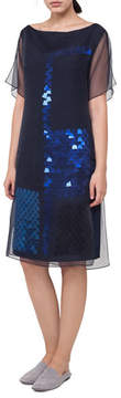 Akris Bateau-Neck Sequined A-Line Dress with Organza Overlay