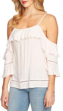 CeCe Cold Shoulder Ruffled Blouse