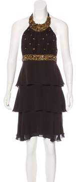 Andrew Gn Stone-Embellished Silk Dress