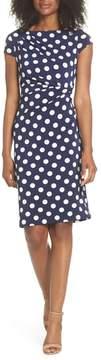 Eliza J Polka Dot Side Twist Sheath Dress