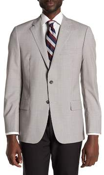 Hickey Freeman Gray Glenplaid Two Button Notch Lapel Wool Sport Coat