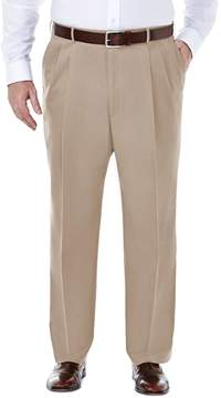 Haggar Big & Tall Premium Stretch No-Iron Khaki Pleated Pants