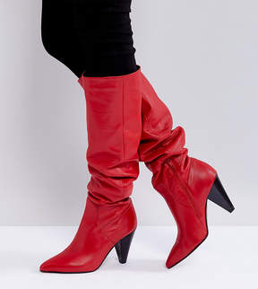 Asos CARRIE Leather Cone Heel Boots