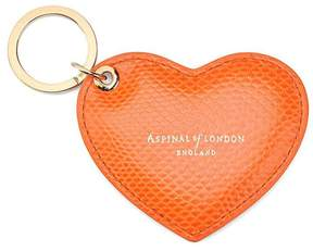 Aspinal of London | Heart Key Ring In Orange Lizard | Orange lizard