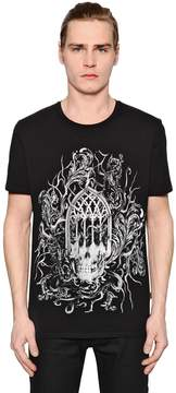 Just Cavalli Gothic Skull Printed Jersey T-Shirt
