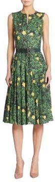 Akris Pleated Buttercup Print Cotton Dress