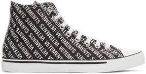 Vetements Black and White Printed Logo High-Top Sneakers
