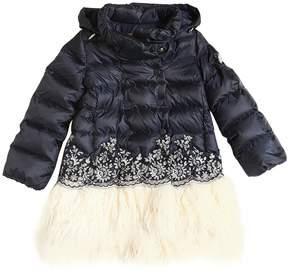 Ermanno Scervino Hooded Nylon & Mongolia Fur Coat