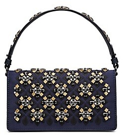 Tory Burch Cleo Embellished Fold-Over Clutch - NAVY BLUE - STYLE
