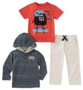 Kids Headquarters Little Boy's Three-Piece Monster Selfie Tee, Hoodie and Cotton Jogger Pants Set