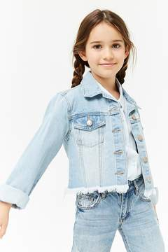 Forever 21 Girls Frayed Denim Jacket (Kids)