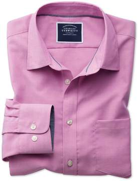 Charles Tyrwhitt Classic Fit Non-Iron Oxford Dark Pink Plain Cotton Casual Shirt Single Cuff Size Large
