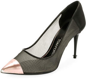 Tom Ford Mix Mesh Cap-Toe Pump