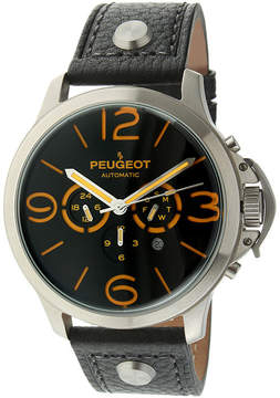 Peugeot Mens Black Leather Strap Big Number Automatic Watch
