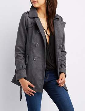 Charlotte Russe Longline Belted Peacoat