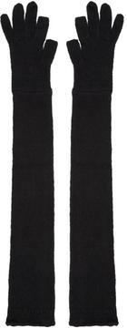 Rick Owens Black Long Knit Gloves