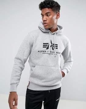 Alpha Industries Logo Hoodie Sweatshirt in Gray Marl