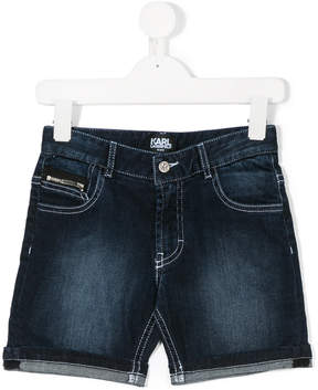 Karl Lagerfeld faded denim shorts
