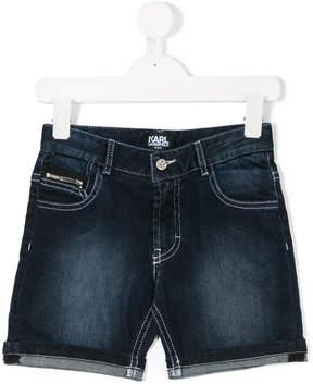 Karl Lagerfeld faded denim shorts