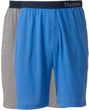 Hanes Big & Tall 2-pk. Striped and Solid Knit Lounge Shorts