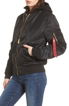 Alpha Industries Women's Ma-1 Natus Hooded Bomber Jacket
