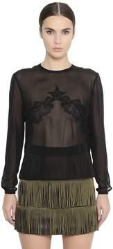Francesco Scognamiglio Sheer Silk Georgette & Lace Shirt