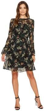 Donna Morgan Noelle Long Sleeve Chiffon Dress with Ruffle at Yoke and Sleeves Women's Dress