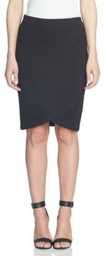 CeCe Women's Ponte Faux Wrap Pencil Skirt