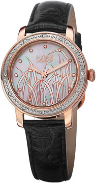 Burgi Mother of Pearl Pattern Dial Black Leather Ladies Watch