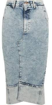 Bassike Faded Crinkled-Denim Midi Skirt