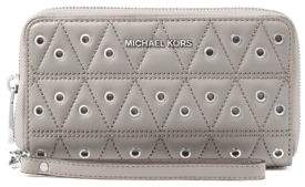 MICHAEL Michael Kors Leather Phone Case Wristlet - PEARL GREY - STYLE