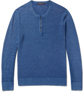Michael Kors Mélange Linen And Cotton-Blend Piqué Henley T-Shirt