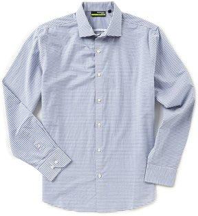 Murano Performance Slim-Fit Spread Collar Stripe Long-Sleeve Sportshirt