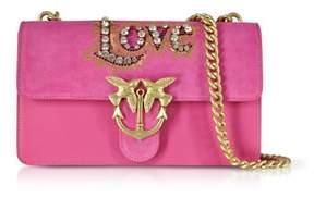 Pinko Women's Pink Suede Shoulder Bag.