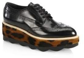 Prada Leather & Leopard-Print Calf Hair Platform Oxfords