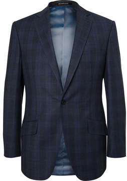 Richard James Blue Hyde Slim-Fit Checked Wool Suit Jacket