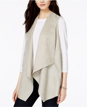 Bar III Faux-Leather Flyaway Vest, Created for Macy's