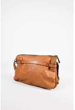 Brunello Cucinelli Pre-owned Tan Distressed Leather Bronze Toned Hardware Crossbody Bag.