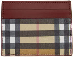 Burberry Beige and Red Sandon Card Holder