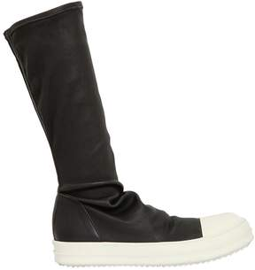Rick Owens Stretch Leather Sneaker Boots