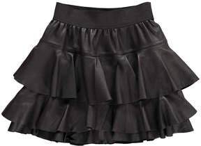 Little Remix Ruffled Leather Skirt