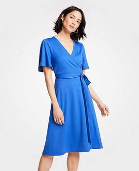 Ann Taylor Tall Flutter Sleeve Wrap Dress