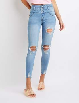 Charlotte Russe Refuge High Rise Step Hem Destroyed Skinny Jeans