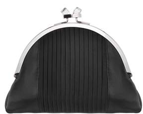 Nina Pleated Satin Half-Moon Clutch