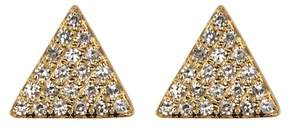 Ef Collection 14K Yellow Gold Pave Diamond Triangle Stud Earrings - 0.13 ctw