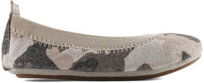 Yosi Samra White & Pink Camouflage Leather Flat