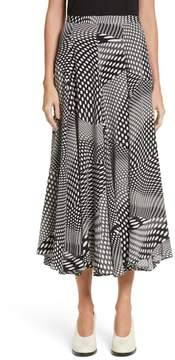 Co Optical Dot Silk Midi Skirt