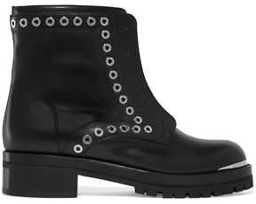 Alexander McQueen Eyelet-embellished Leather Ankle Boots - Black